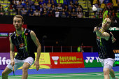 Mathias Boe and Carsten Mogensen of Denmark in action during the match between Yoo Yeon Seong and Lee Yong Dae of Korea and Mathias Boe and Carsten...