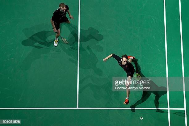 Mathias Boe and Carsten Mogensen of Denmark in action in the Semifinal Men's Doubles match against Chai Biao and Hong Wei of China during day four of...