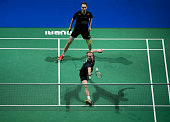 Mathias Boe and Carsten Mogensen of Denmark in action in their men's doubles match against Mads Conrad Petersen and Mads Pieler Kolding of Denmark...