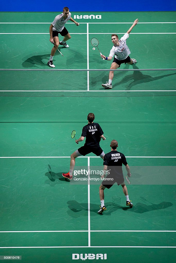 <a gi-track='captionPersonalityLinkClicked' href=/galleries/search?phrase=Mathias+Boe&family=editorial&specificpeople=651077 ng-click='$event.stopPropagation()'>Mathias Boe</a> and <a gi-track='captionPersonalityLinkClicked' href=/galleries/search?phrase=Carsten+Mogensen&family=editorial&specificpeople=651076 ng-click='$event.stopPropagation()'>Carsten Mogensen</a> (down) of Denmark in action in their men's doubles match against Mads Conrad Petersen and Mads Pieler Kolding (down) of Denmark during day one of the BWF Dubai World Superseries 2015 Finals at the Hamdan Sports Complex on on December 9, 2015 in Dubai, United Arab Emirates.