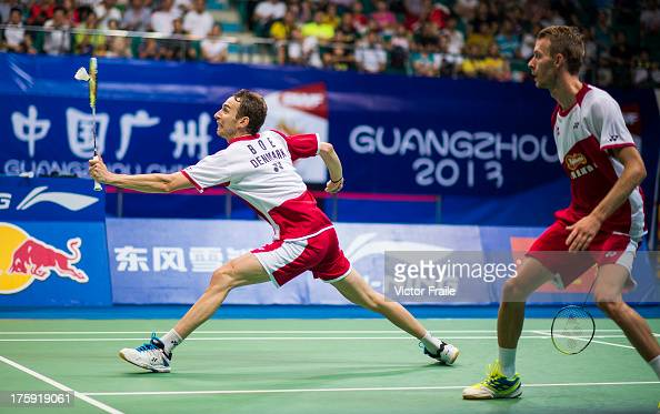 Mathias Boe and Carsten Mogensen of Denmark in action their men's doubles semifinal match against Kim Kj Jung and Kim Sa Rang of South Korea during...