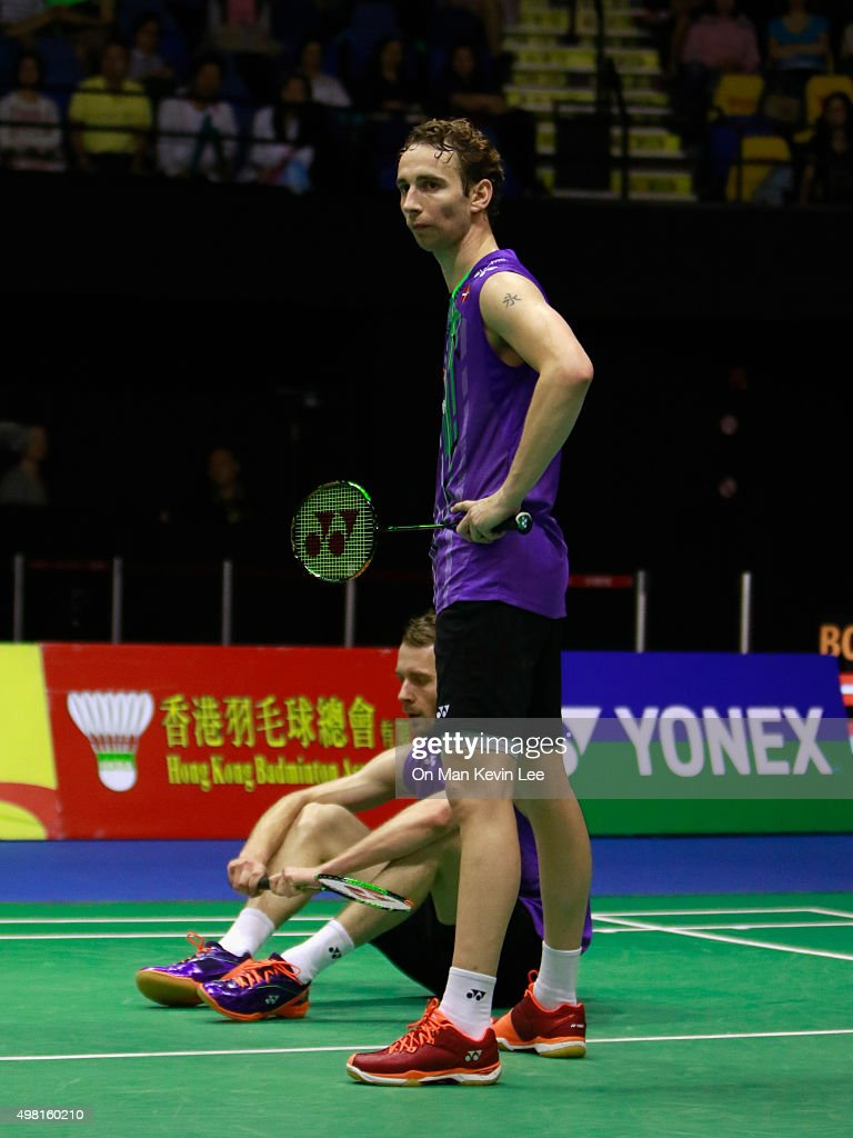 <a gi-track='captionPersonalityLinkClicked' href=/galleries/search?phrase=Mathias+Boe&family=editorial&specificpeople=651077 ng-click='$event.stopPropagation()'>Mathias Boe</a> and <a gi-track='captionPersonalityLinkClicked' href=/galleries/search?phrase=Carsten+Mogensen&family=editorial&specificpeople=651076 ng-click='$event.stopPropagation()'>Carsten Mogensen</a> of Denmark react during the match between <a gi-track='captionPersonalityLinkClicked' href=/galleries/search?phrase=Mathias+Boe&family=editorial&specificpeople=651077 ng-click='$event.stopPropagation()'>Mathias Boe</a> and <a gi-track='captionPersonalityLinkClicked' href=/galleries/search?phrase=Carsten+Mogensen&family=editorial&specificpeople=651076 ng-click='$event.stopPropagation()'>Carsten Mogensen</a> of Denmark and Mohammad Ahsan and Hendra Setiawan of Indonesia during Semi-Final of Yonex-Sunrise Hong Kong Open 2015 on November 21, 2015 in Hong Kong, Hong Kong.