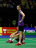 Mathias Boe and Carsten Mogensen of Denmark react during the match between Mathias Boe and Carsten Mogensen of Denmark and Mohammad Ahsan and Hendra...