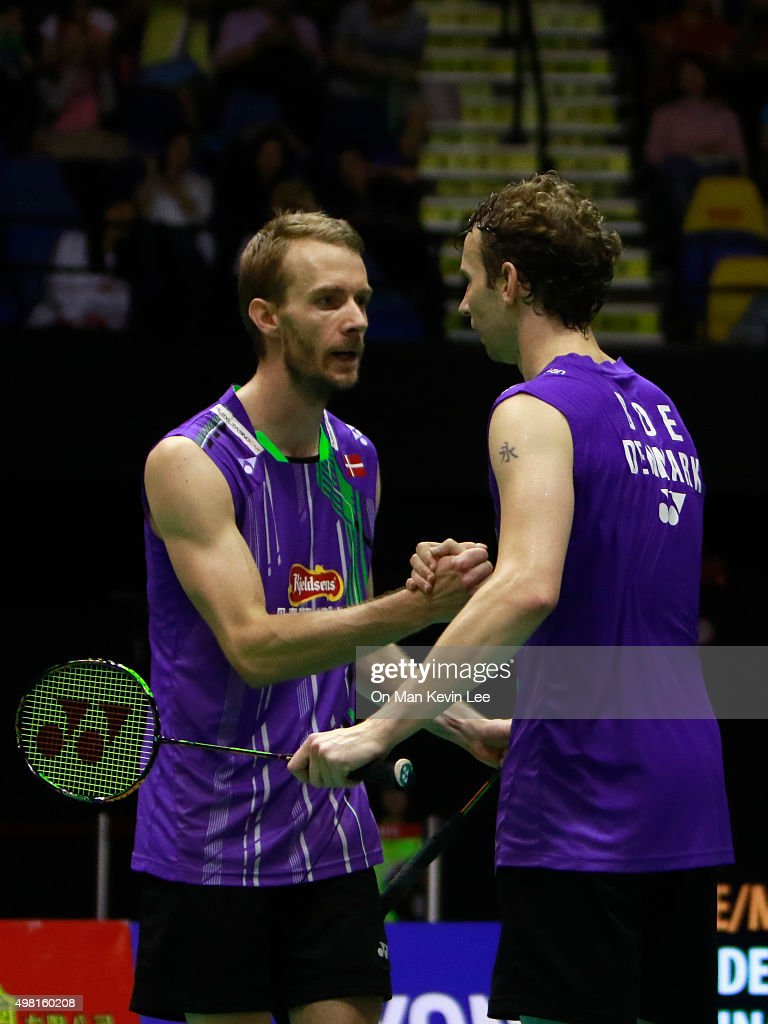<a gi-track='captionPersonalityLinkClicked' href=/galleries/search?phrase=Mathias+Boe&family=editorial&specificpeople=651077 ng-click='$event.stopPropagation()'>Mathias Boe</a> and <a gi-track='captionPersonalityLinkClicked' href=/galleries/search?phrase=Carsten+Mogensen&family=editorial&specificpeople=651076 ng-click='$event.stopPropagation()'>Carsten Mogensen</a> of Denmark return reacts after winning the match between <a gi-track='captionPersonalityLinkClicked' href=/galleries/search?phrase=Mathias+Boe&family=editorial&specificpeople=651077 ng-click='$event.stopPropagation()'>Mathias Boe</a> and <a gi-track='captionPersonalityLinkClicked' href=/galleries/search?phrase=Carsten+Mogensen&family=editorial&specificpeople=651076 ng-click='$event.stopPropagation()'>Carsten Mogensen</a> of Denmark and Mohammad Ahsan and Hendra Setiawan of Indonesia during Semi-Final of Yonex-Sunrise Hong Kong Open 2015 on November 21, 2015 in Hong Kong, Hong Kong.