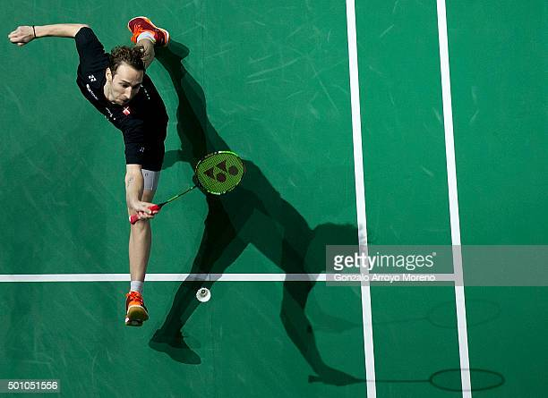Mathias Boe of Denmark in action in the Semifinal Men's Doubles match against Chai Biao and Hong Wei of China during day four of the BWF Dubai World...