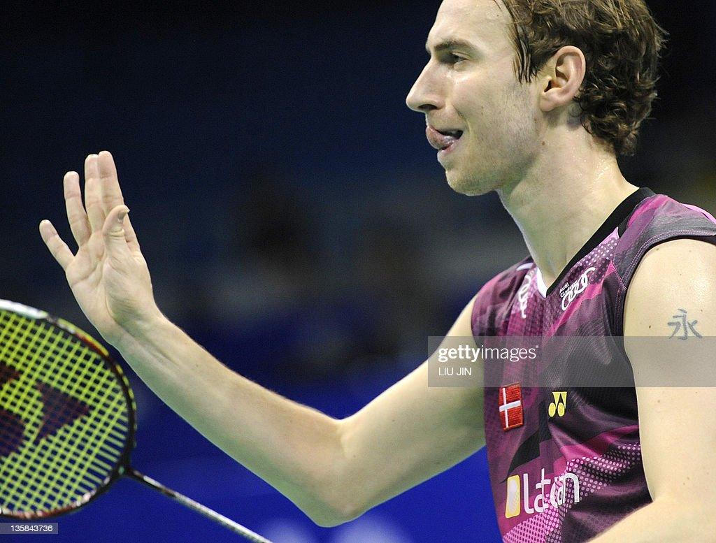 Mathias Boe of DEnmark serves with his p
