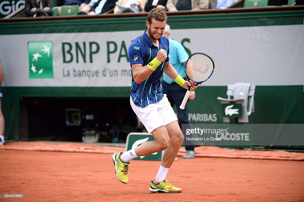 Mathias Bourgue during the Men's Singles second round on day four of the French Open 2016 at Roland Garros on May 25, 2016 in Paris, France.