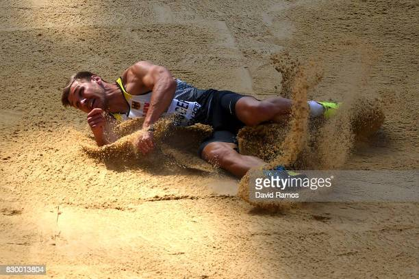 Mathias Brugger of Germany competes in the Men's Decathlon Long Jump during day eight of the 16th IAAF World Athletics Championships London 2017 at...