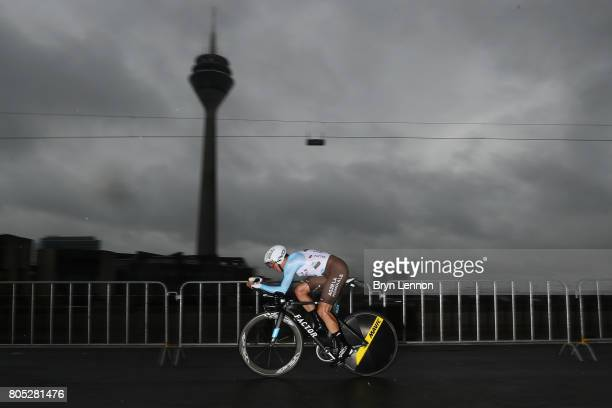 Mathias Frank of Switzerland and AG2R La Mondiale competes during stage one of Le Tour de France 2017 a 14km individual time trial on July 1 2017 in...