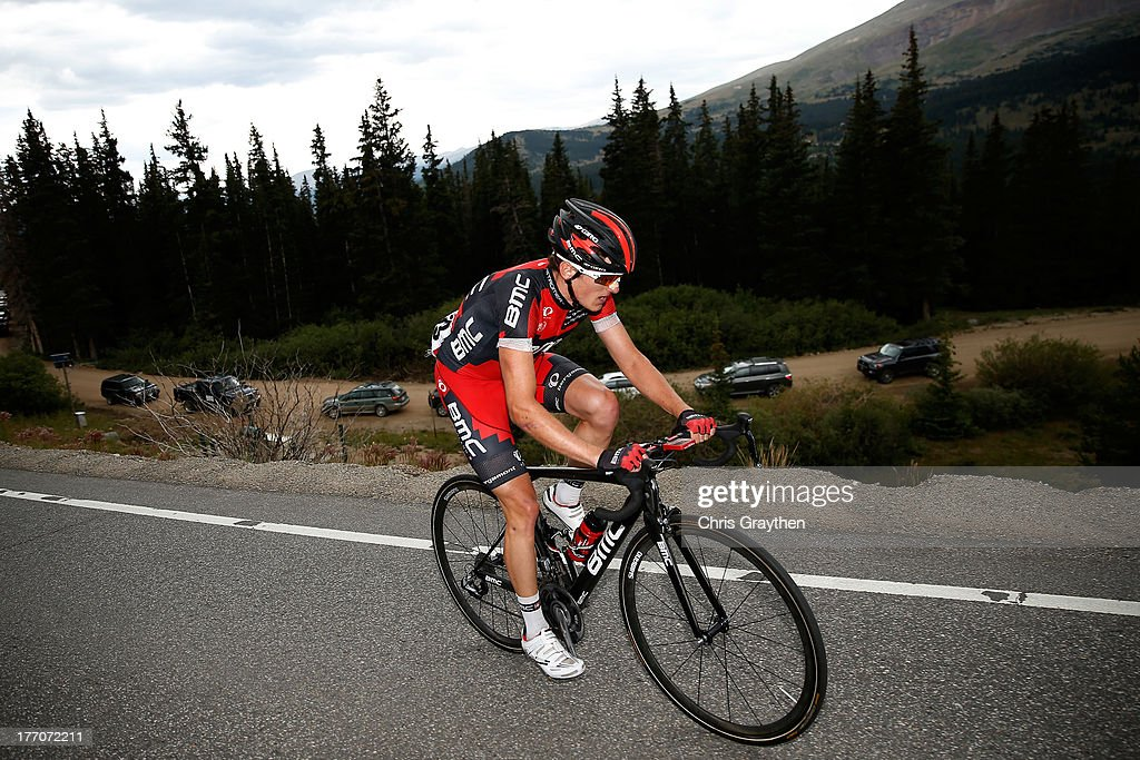 Mathias Frank of Switzerland and the BMC Racing Team rides over Hoosier Pass during stage two of the 2013 USA Pro Cycling Challenge on August 20, 2013 in Breckenridge, Colorado. Frank went on to win the second stage.