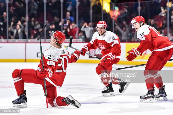 Mathias From of Team Denmark celebrates his overtime goal during the 2017 IIHF World Junior Championship preliminary round game against Team Czech...