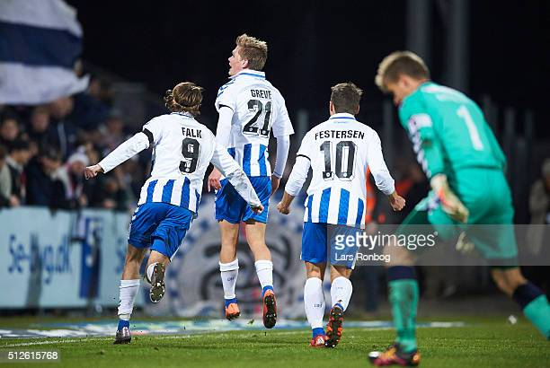 Mathias Greve of OB Odense celebrates after scoring their second goal during the Danish Alka Superliga match between OB Odense and AGF Aarhus at...