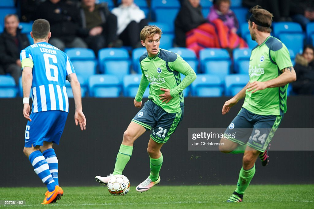 Mathias Greve of OB Odense controls the ball during the Danish Alka Superliga match between Esbjerg fB and OB Odense at Blue Water Arena on May 02, 2016 in Esbjerg, Denmark.