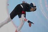 Mathias Hauer of Austria competes in the mens 1500m race during day 2 the ISU Junior World Cup Speed Skating Groningen on November 15 2015 in...