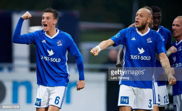 Mathias Hebo Rasmussen and Michael Lumb of Lyngby BK celebrate after scoring their first goal during the Danish Alka Superliga match between Lyngby...