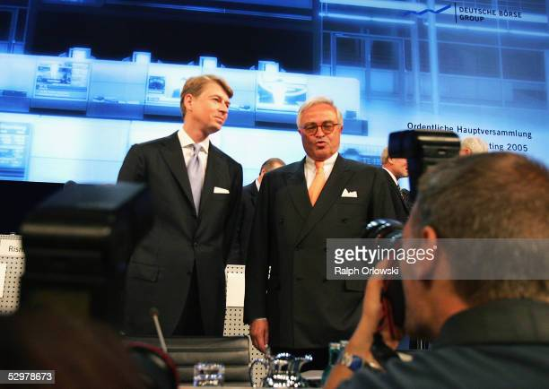 Mathias Hlubek Chief Financial Officer of Deutsche Boerse Group and Rolf Breuer chief of the supervisory board attend the annual shareholder's...