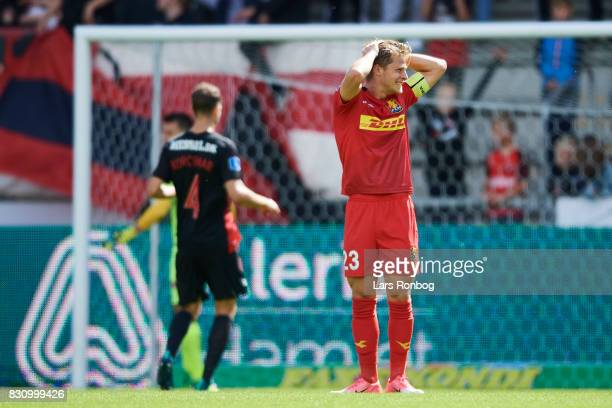 Mathias Jensen of FC Nordsjalland shows frustration during the Danish Alka Superliga match between FC Midtjylland and FC Nordsjalland at MCH Arena on...