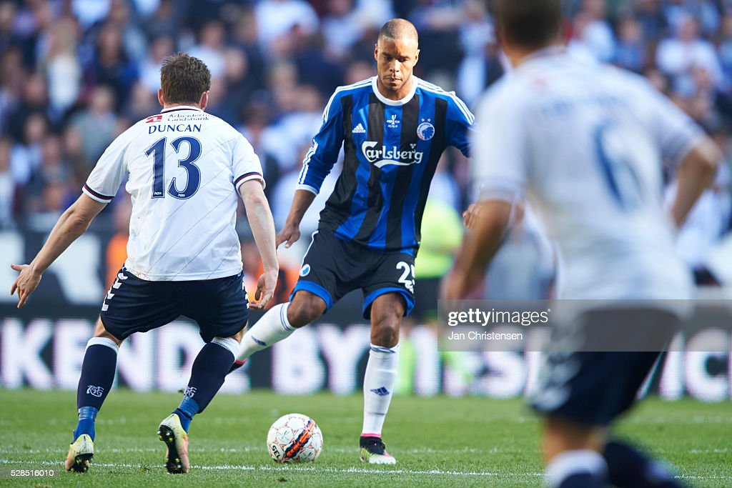 Mathias Jorgensen of FC Copenhagen controls the ball during the DBU Pokalen Cup Final match between AGF Arhus and FC Copenhagen at Telia Parken Stadium on May 05, 2016 in Copenhagen, Denmark.