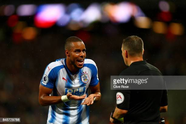 Mathias Jorgensen of Huddersfield Town appeals to referee Kevin Friend during the Premier League match between West Ham United and Huddersfield Town...