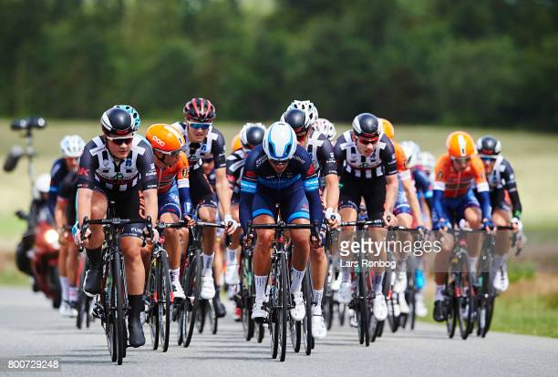 Mathias Krigbaum of coloQuick CULT leading the peloton during the Elite Mens Road Race in the Danish Road Cycling Championships on June 25 2017 in...