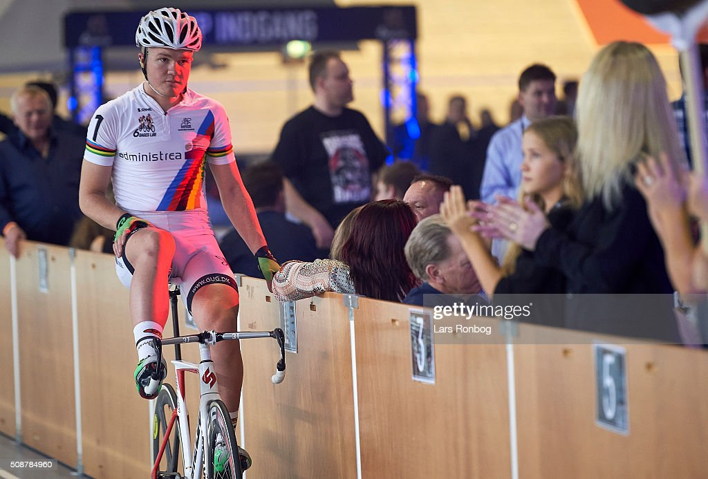 Mathias Krigbaum relaxes with the sponsor during day three at the Copenhagen Six Days Race Cycling at Ballerup Super Arena on February 6, 2016 in Ballerup, Denmark.