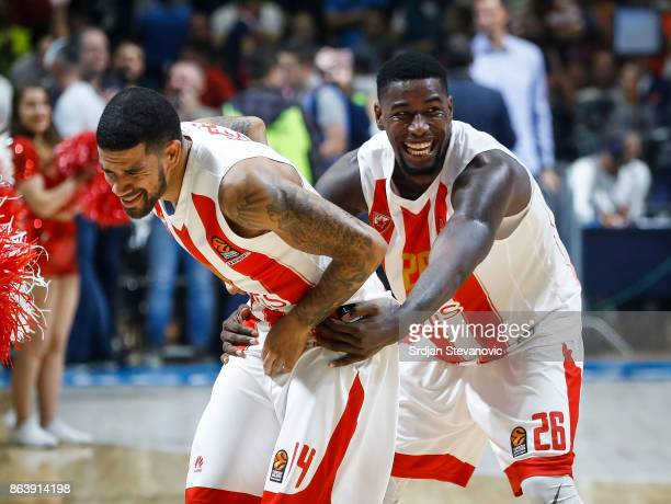 Mathias Lessort and James Feldeine of Crvena Zvezda celebrate after winning the 2017/2018 Turkish Airlines EuroLeague Regular Season game between...