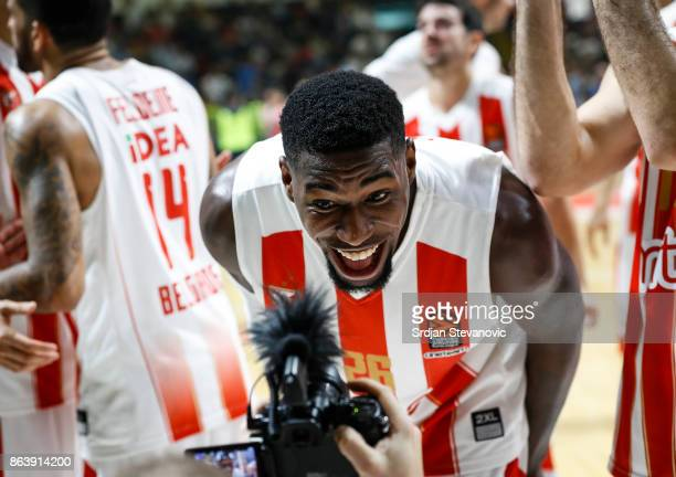 Mathias Lessort of Crvena Zvezda celebrates after winning the 2017/2018 Turkish Airlines EuroLeague Regular Season game between Crvena Zvezda mts...