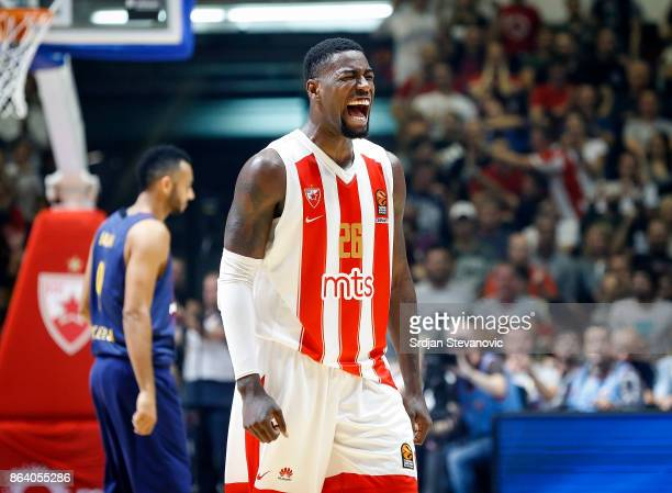 Mathias Lessort of Crvena Zvezda celebrates during the 2017/2018 Turkish Airlines EuroLeague Regular Season game between Crvena Zvezda mts Belgrade...