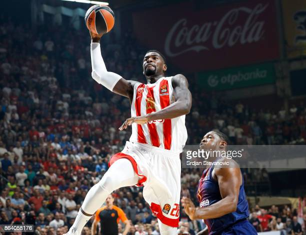 Mathias Lessort of Crvena Zvezda in action against Kevin Seraphin of Barcelona during the 2017/2018 Turkish Airlines EuroLeague Regular Season game...
