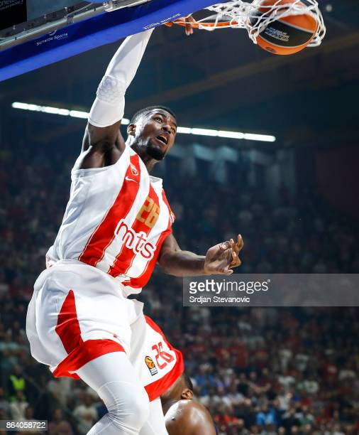 Mathias Lessort of Crvena Zvezda in action during the 2017/2018 Turkish Airlines EuroLeague Regular Season game between Crvena Zvezda mts Belgrade...