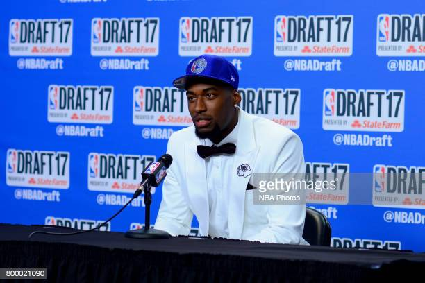 Mathias Lessort of the Philadelphia 76ers talks to the media after being selected 50th overall at the 2017 NBA Draft on June 22 2017 at Barclays...