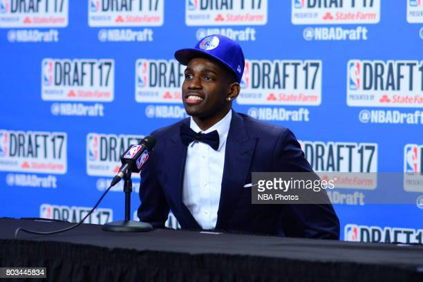 Mathias Lessort speaks with the media after being selected 50th overall by the Philadelphia 76ers at the 2017 NBA Draft on June 22 2017 at Barclays...