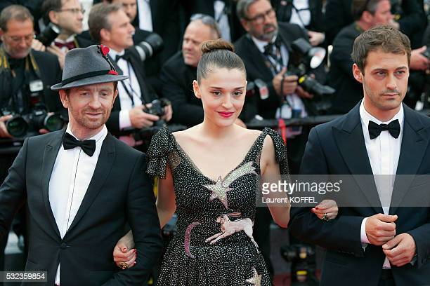 Mathias Malzieu and Lola Bessis attend the 'Loving' red carpet arrivals during the 69th annual Cannes Film Festival at the Palais des Festivals on...
