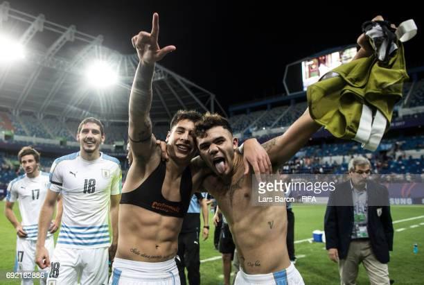 Mathias Olivera of Uruguay and Nicolas Schiappacasse of Uruguay celebrate after the FIFA U20 World Cup Korea Republic 2017 Quarter Final match...