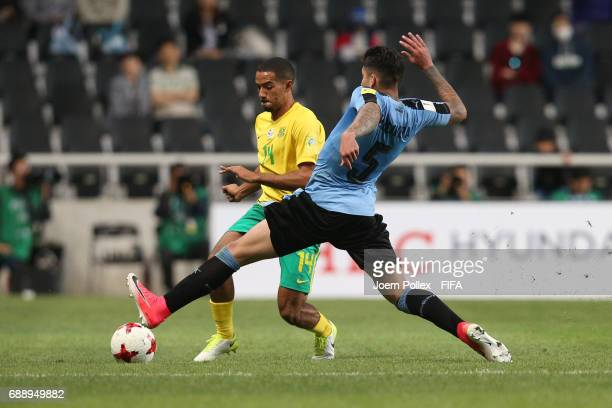 Mathias Olivera of Uruguay and Reeve Frosler of South Africa during the FIFA U20 World Cup Korea Republic 2017 group D match between Uruguay and...