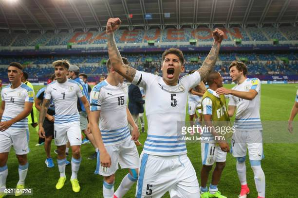 Mathias Olivera of Uruguay celebrates after beating Portugal in a penalty shoot out during the FIFA U20 World Cup Korea Republic 2017 Quarter Final...