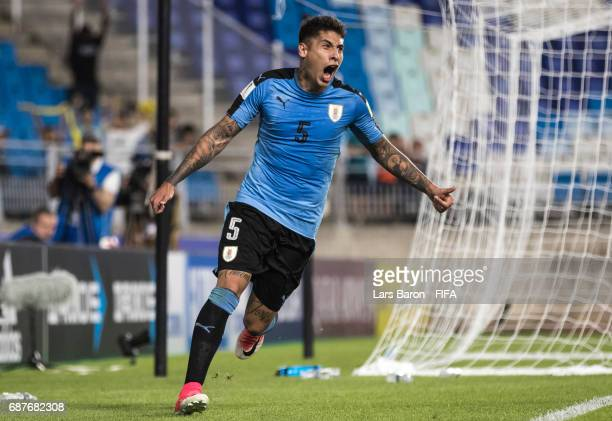 Mathias Olivera of Uruguay celebrates with team mates after scoring his teams second goal during the FIFA U20 World Cup Korea Republic 2017 group D...