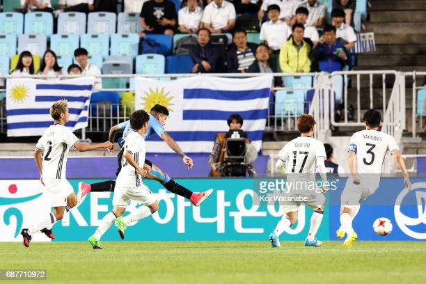 Mathias Olivera of Uruguay scores his second goal during the FIFA U20 World Cup Korea Republic 2017 group D match between Uruguay and Japan at Suwon...
