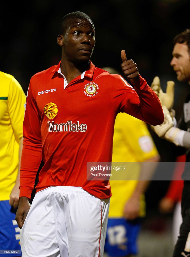 Mathias Pogba of Crewe gestures towards the Coventry fans during the Johnstone's Paint Trophy Northern Section Final Second Leg match between Crewe Alexandra and Coventry City at the Alexandra Stadium on February 20, 2013 in Crewe, England.