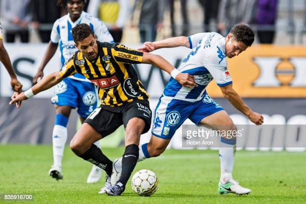 Mathias Ranegie of BK Hacken and David Boo Wiklander of IFK Goteborg competes for the ball during the Allsvenskan match between IFK Goteborg and BK...