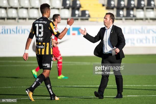 Mathias Ranegie of BK Hacken and Mikael Stahre head coach of BK Hacken thank each other for the match after the Allsvenskan match between BK Hacken...