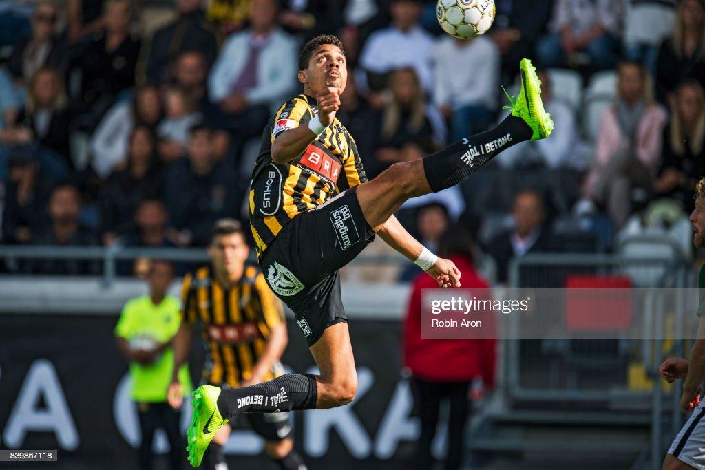 Mathias Ranegie of BK Hacken recieves the ball during the Allsvenskan match between BK Hacken and Jonkopings Sodra IF at Bravida Arena on August 27, 2017 in Gothenburg, Sweden.