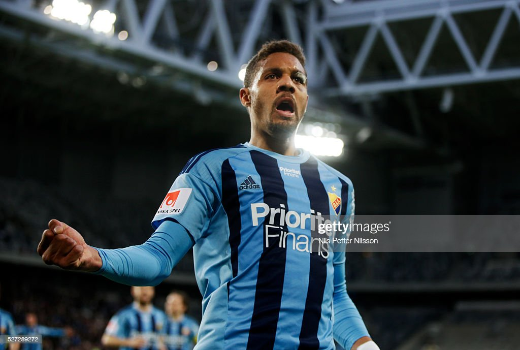 Mathias Ranegie of Djurgardens IF celebrates after scoring to 3-0 during the Allsvenskan match between Djurgardens IF and Ostersunds FK at Tele2 Arena on May 2, 2016 in Stockholm, Sweden.