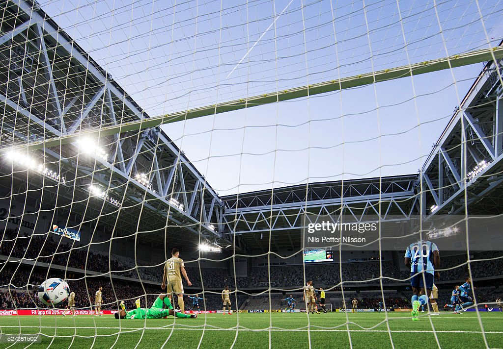Mathias Ranegie of Djurgardens IF scores to 3-0 during the Allsvenskan match between Djurgardens IF and Ostersunds FK at Tele2 Arena on May 2, 2016 in Stockholm, Sweden.