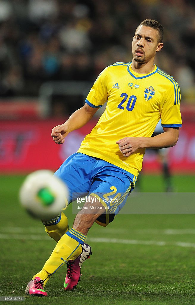 <a gi-track='captionPersonalityLinkClicked' href=/galleries/search?phrase=Mathias+Ranegie&family=editorial&specificpeople=8283787 ng-click='$event.stopPropagation()'>Mathias Ranegie</a> of Sweden in action during the International Friendly match between Sweden and Argentina at the Friends Arena on February 6, 2013 in Stockholm, Sweden.