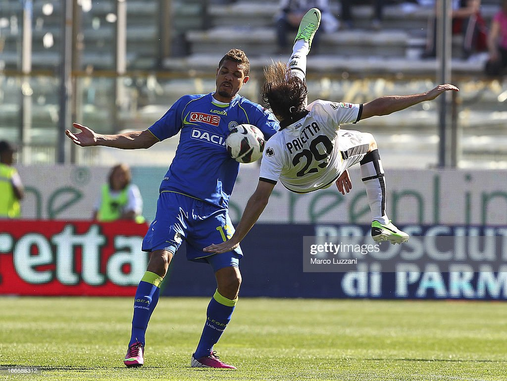 <a gi-track='captionPersonalityLinkClicked' href=/galleries/search?phrase=Mathias+Ranegie&family=editorial&specificpeople=8283787 ng-click='$event.stopPropagation()'>Mathias Ranegie</a> of Udinese Calcio competes for the ball with <a gi-track='captionPersonalityLinkClicked' href=/galleries/search?phrase=Gabriel+Paletta&family=editorial&specificpeople=747556 ng-click='$event.stopPropagation()'>Gabriel Paletta</a> of Parma FC during the Serie A match between Parma FC and Udinese Calcio at Stadio Ennio Tardini on April 14, 2013 in Parma, Italy.