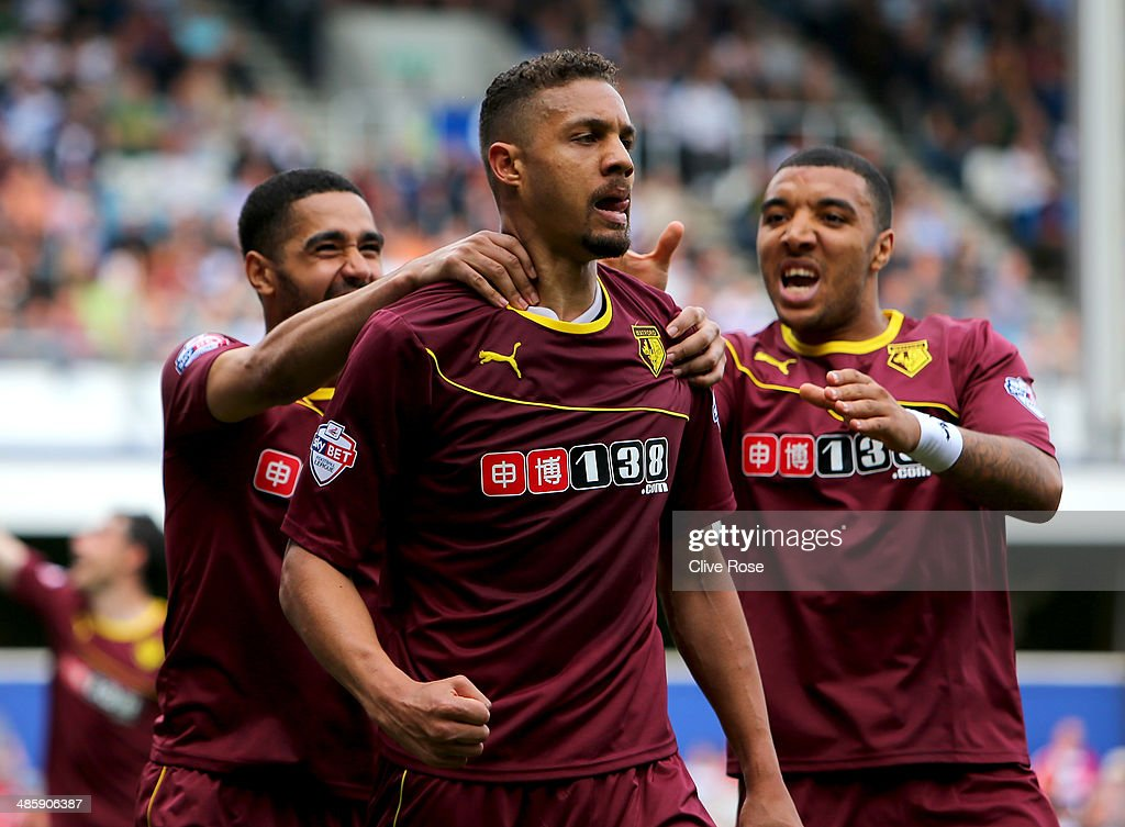 <a gi-track='captionPersonalityLinkClicked' href=/galleries/search?phrase=Mathias+Ranegie&family=editorial&specificpeople=8283787 ng-click='$event.stopPropagation()'>Mathias Ranegie</a> of Watford celebrates his goal during the Sky Bet Championship match between Queens Park Rangers and Watford at Loftus Road on April 21, 2014 in London, England.