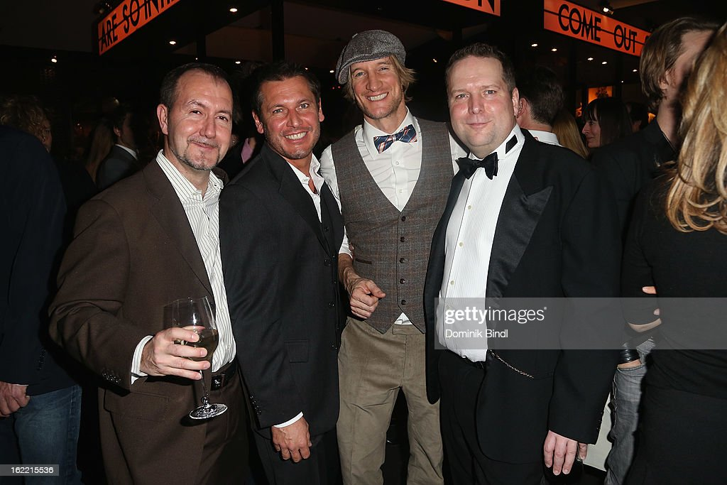 Mathias Scheffel, Andreas Haidinger, Max Braunmiller and Constantin Wahl attend the Lazy Moon Dinner Club opening party on February 20, 2013 in Munich, Germany.