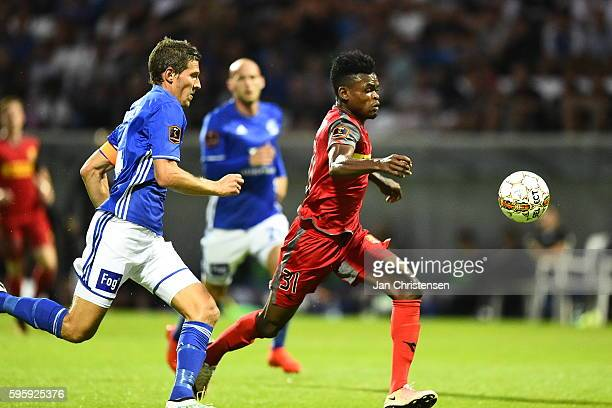 Mathias Tauber of Lyngby BK and Godsway Donyoh of FC Nordsjalland compete for the ball during the Danish Alka Superliga match between Lyngby BK and...