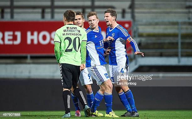 Mathias Tauber of Lyngby Boldklub discussing with Martin Svensson of Vejle Boldklub during the Danish 1th Division Bet25 Liga match between Lyngby...
